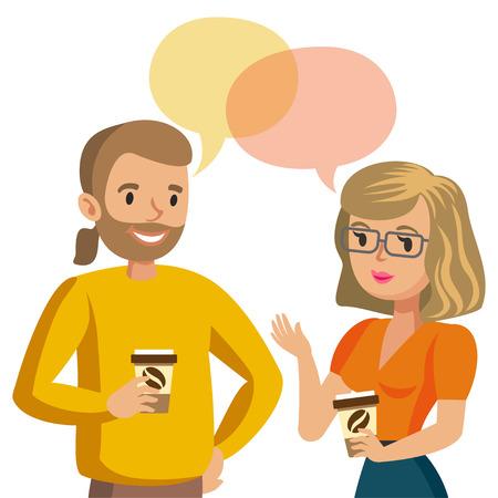 男性と女性の話。カップルや同僚を話します。ベクトル図  イラスト・ベクター素材