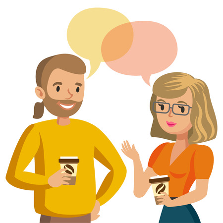 Man and women talking. Talk of couple or colleagues. Vector illustration