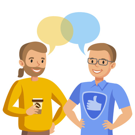 colleagues: Two man talking. Talk of friends or colleagues. Vector illustration