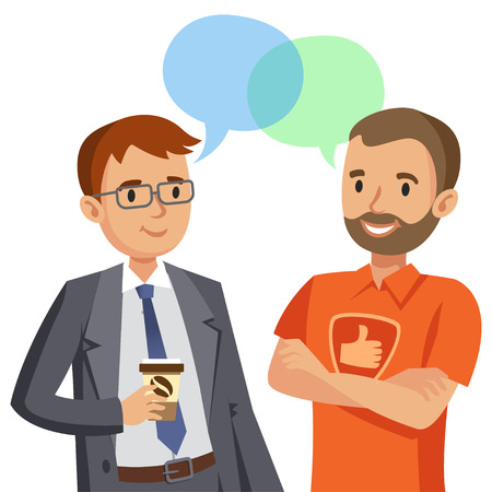 Two man talking. Meeting of friends or colleagues. Vector illustration Ilustração