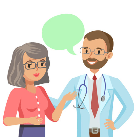 doctor and patient vector: Doctor and senior patient. Woman talking to physician. Vector illustration Illustration