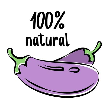 petiole: Eggplant sketch. Vector illustration
