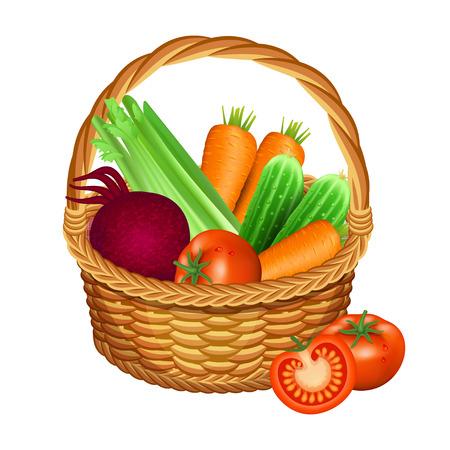 白で隔離野菜付きバスケット。ベクトル図