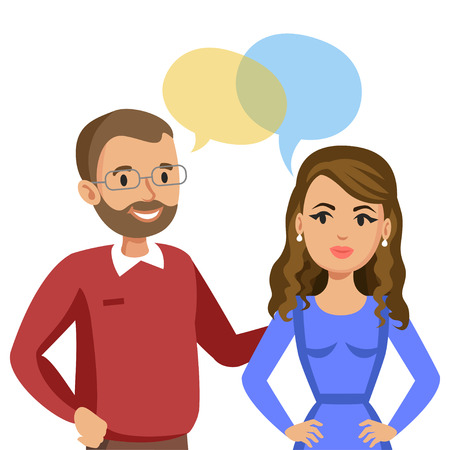 Man and women talking. Talk of couple or friends. Vector illustration