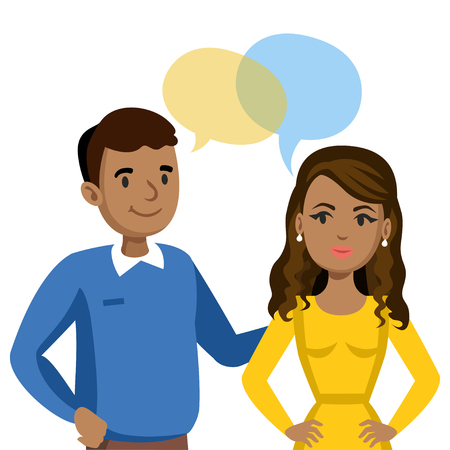 couple talking: Man and women talking. Talk of couple or friends. Vector illustration