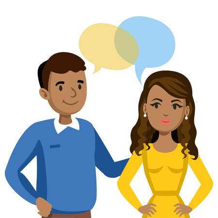 Man en vrouwen te praten. Talk of koppel of vrienden. vector illustratie