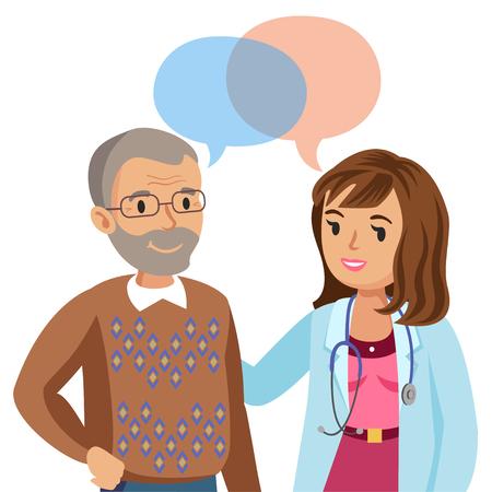 医師と高齢の患者。医師に話している男性。ベクトル図  イラスト・ベクター素材