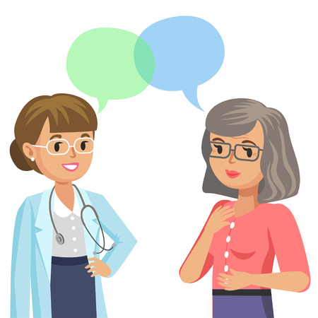 Doctor and senior patient. Woman talking to physician. Vector illustration Illustration