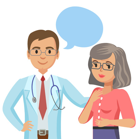 Doctor and senior patient. Woman talking to physician. Vector illustration