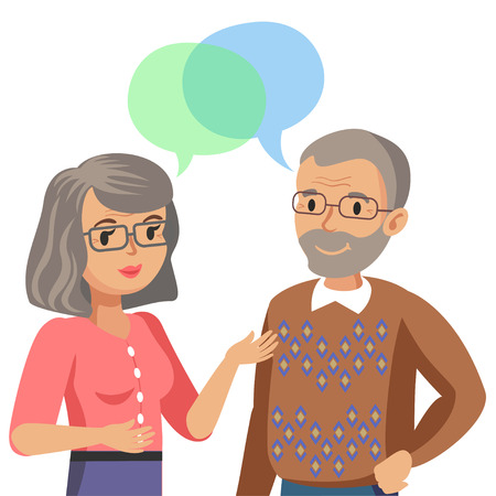 talking: Old man and old women talking. Talk of spouse or friends. Vector illustration