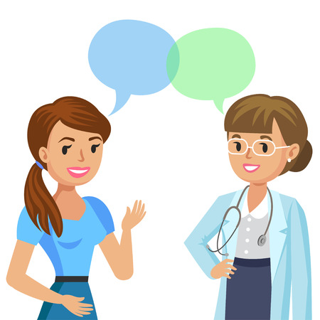 Doctor and girl patient. Woman talking to physician. Vector illustration Illustration