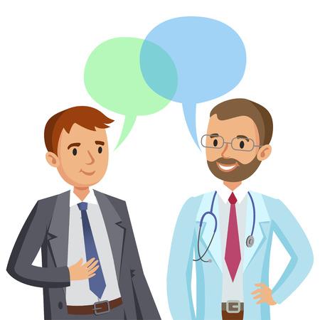 Médico y el paciente. Hombre que habla con el médico. ilustración vectorial