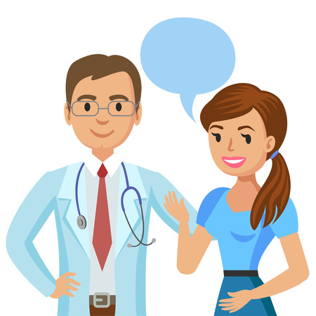 Doctor and patient. Woman talking to physician. Vector illustration Ilustração