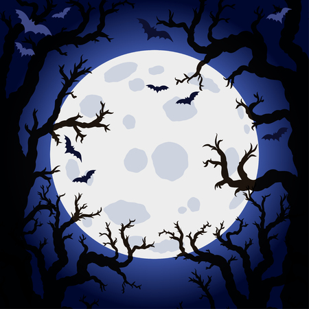 spooky forest: Halloween abstract background with moon and scary tree brushes. Spooky forest with dead trees.