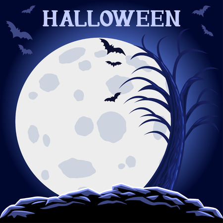 Halloween abstract background with moon and scary tree. Halloween Party design template. Illustration
