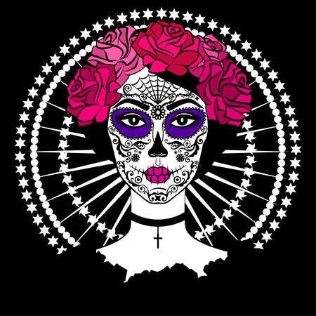 Meisje met suiker schedel make-up. Calavera Catrina. Mexicaanse Dag van de doden of Halloween persoon. Dia de los Muertos.