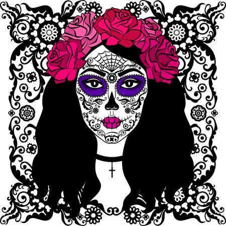 Muchacha con maquillaje del cráneo del azúcar. Calavera Catrina. Día mexicano de la persona muerta o Halloween. Día de los Muertos. Foto de archivo - 63419681