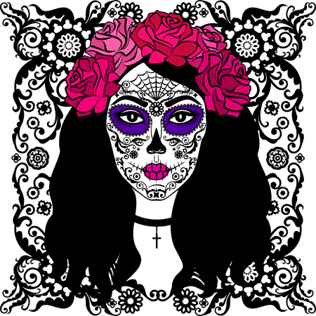 Girl with sugar skull makeup. Calavera Catrina. Mexican Day of the dead or halloween person. Dia de los Muertos.