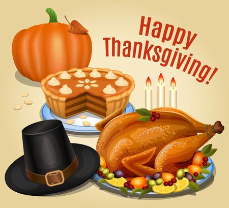 roast dinner: Thanksgiving dinner, roast turkey on platter with garnish, orange pumpkin, pumpkin pie, piligrim hat.