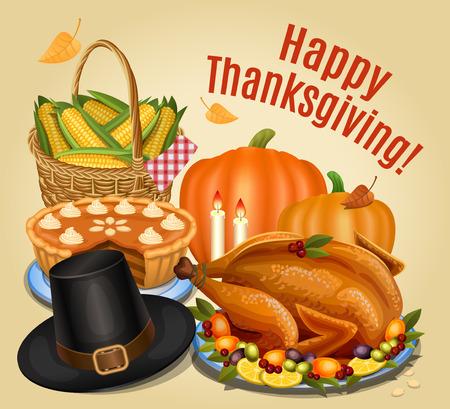 roast turkey: Thanksgiving dinner, roast turkey on platter with garnish, orange pumpkin, pumpkin pie, piligrim hat.