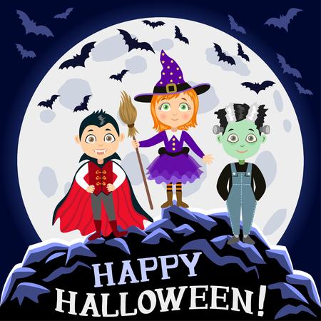 vampire bats: Happy Halloween. Children in halloween costumes. Vampire Dracula, witch, zombie