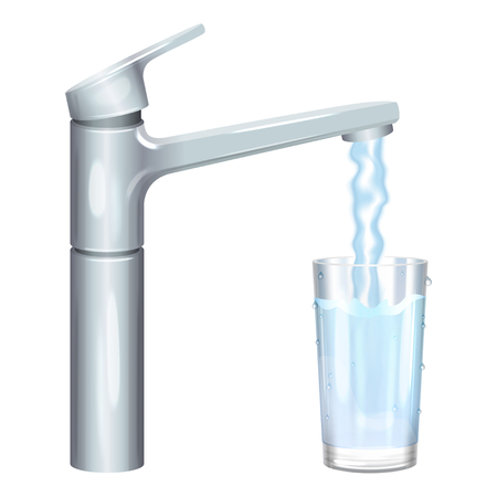 water stream: Glass filled with drinking water from tap. Pure water. Vector illustration Illustration