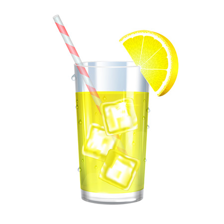 Lemonade Met IJsblokjes En Citroen Op Een Witte Achtergrond. Vector illustratie