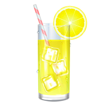 Lemonade with ice cubes and lemon on white background. Vector illustration
