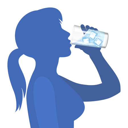 女性は水を飲む。健康的なライフ スタイルのコンセプトです。ベクトル図