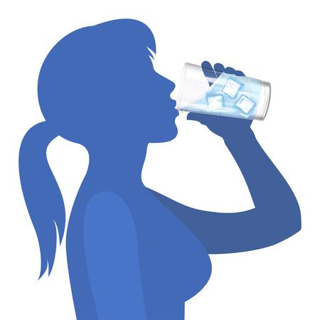 Donna beve acqua. Concetto di stile di vita sano. Illustrazione vettoriale