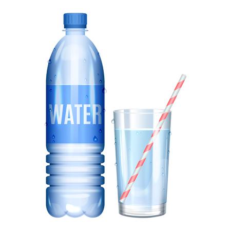 L'eau en bouteille. Verre d'eau pure. Vector illustration Banque d'images - 67373487