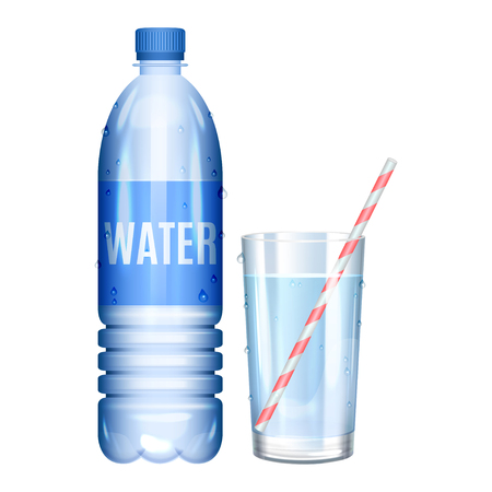 Water in bottle. Glass of pure water. Vector illustration Vetores