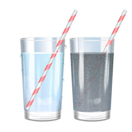 contaminated: Glass of pure and dirty water. Vector illustration.
