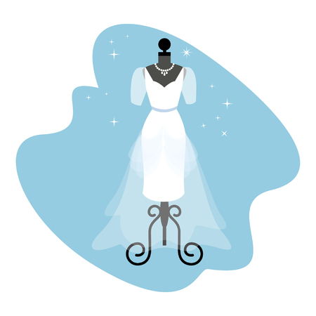 fitting: Wedding Dress. Fashionable white gown on mannequin. Bride apparel. Vector