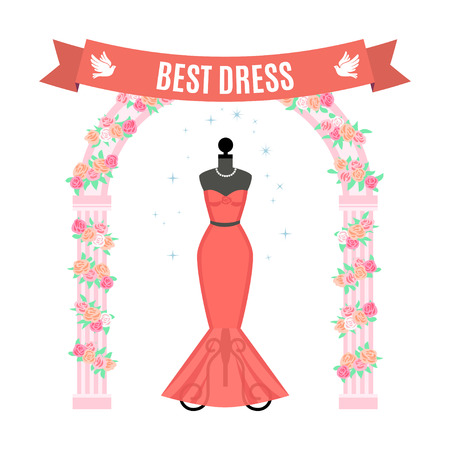 Red Evening Dress. Vintage dress on mannequin. Vector Illustration