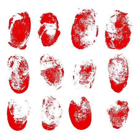 Set of blood fingerprints. Vector red stains of fingers Vectores