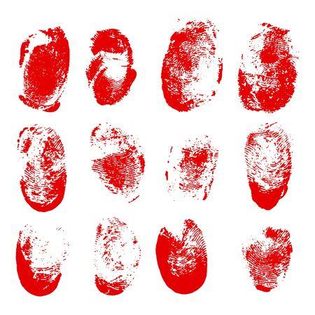 Set of blood fingerprints. Vector red stains of fingers Illustration
