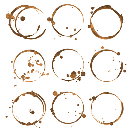 faience: Coffee stains. Traces coffee splashes set. Vector Illustration