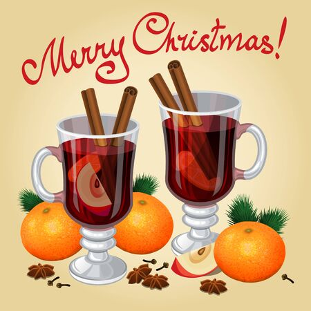Christmas mulled wine with spices, mandarines, anise and cinnamon sticks, traditional christmas drink. Vector illustration