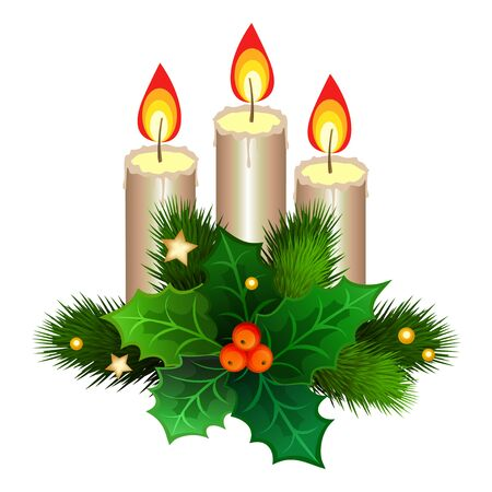 Christmas candles with fir branches and holly berries. Vector illustration Illustration