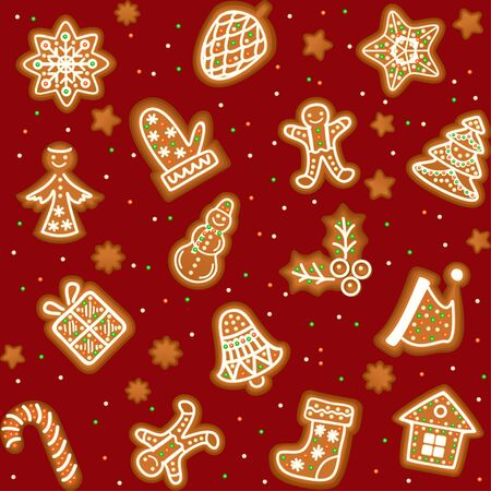 confection: Seamless pattern with Gingerbread Christmas cookies decorated icing. Holiday cookie in shape of Christmas Xmas tree, star, bell, sock, gingerbread men, snowflake and gift. Vector illustration