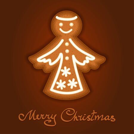Gingerbread angel decorated icing. Holiday cookie in shape of angel for christmas, winter holiday, new years day, new years sweet pastry. Vector illustration