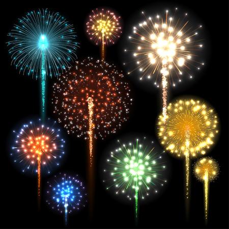 Set of colorful fireworks. Vector illustration