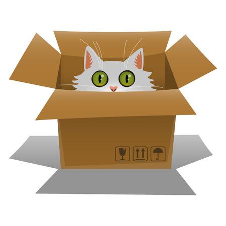 골판지 상자에 고양이. 새끼 고양이 상자에서 찾고있다. 벡터 일러스트 레이 션