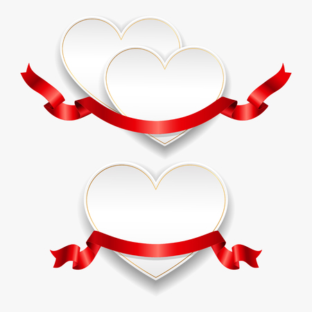 White paper hearts with red ribbons. Vector illustration. Template for valentines day or weddings design