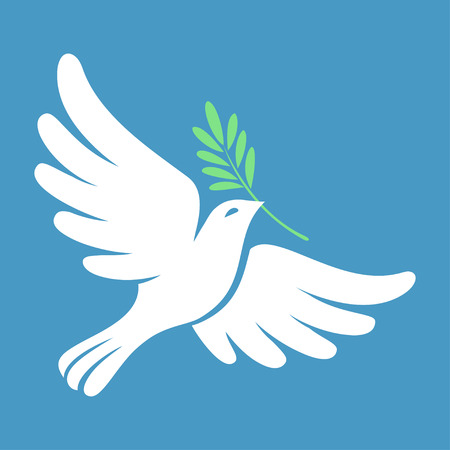 Silhouette of a flying dove with olive branch. White pigeon doodle. Vector illustration Illustration