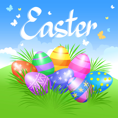 Colorful Easter eggs in green grass for Easter holidays design. Vector illustration