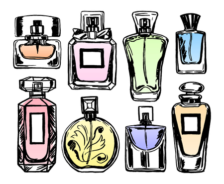 perfumery: Set of color perfume bottles. Sketch style. Vector illustration