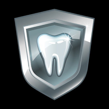 carious: Tooth on a silver shield. Vector illustration