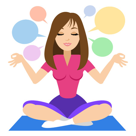 yoga meditation: Woman doing yoga meditation. Girl doing relaxation. Vector illustration Illustration